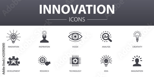 Pinturas sobre lienzo  Innovation simple concept icons set