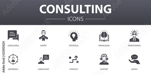 Consulting simple concept icons set Canvas Print