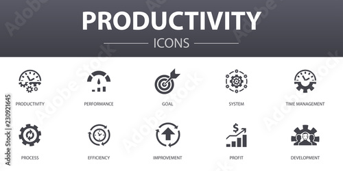 Fotomural Productivity simple concept icons set