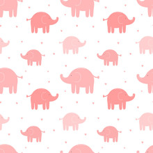 Seamless Pattern Of Cute Pink Elephants And Hearts. Vector Image For Girl. Illustration For Holiday, Baby Shower, Birthday, Textile, Wrapper, Greeting Card, Print, Banners, Flyers