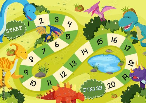 Fotomural Flat dinosaur board game template
