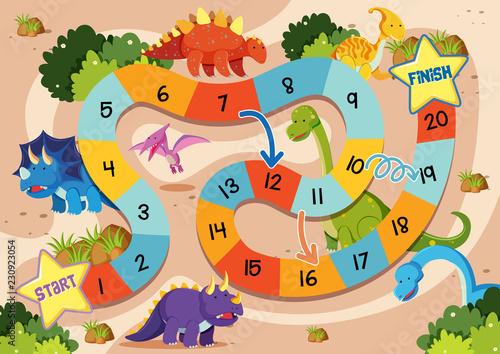 Fotografía Flat dinosaur board game template