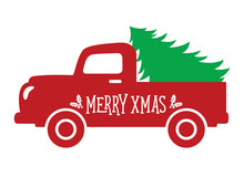 Vector Illustration Of An Old Vintage Truck Carrying A Christmas Tree.