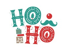 Ho Ho Ho Christmas Quote And Illustration, Box Gift. Santa's Laughter. Christmas Card Or Poster. Vector Lettering. Hand Drawn Lettering