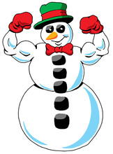 A Very Fit Snowman Showing Off Those Biceps