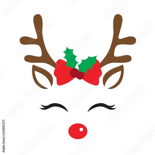 Fototapeta premium Ilustracja wektorowa śliczną twarz renifera z dekoracją świąteczną.