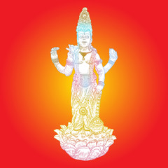 Lord Vishnu standing on lotus giving blessing hand drawn illustration in classic vision. Hindu God.  Vector.