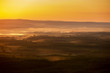 Landscapes aerial view sunrise pattern forest and foggy in morning time Bueng Kan Thailand.