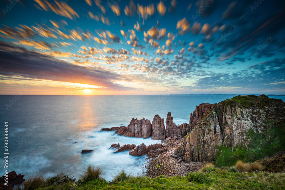 Fototapety, obrazy: Dramatic long exposure image of the sunset overlooking the Pinnacles a famous rock formation on Phillip Island, Victoria Australia