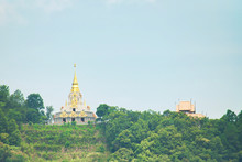 Wat Santikhiri At Doi Mae Slong, Chiang Rai, Thailand. Buddhist Temple And Pagoda In The Mountain
