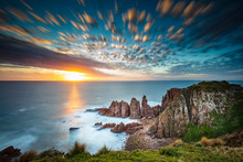 Dramatic Long Exposure Image Of The Sunset Overlooking The Pinnacles A Famous Rock Formation On Phillip Island, Victoria Australia