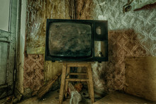 Creepy Broken Television In Dirty Room Of Abandoned House