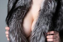 Female Breast In A Fur Coat