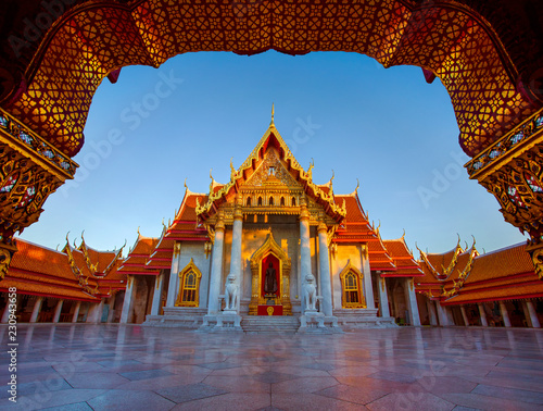 Spoed Foto op Canvas Asia land wat benchamabophit ,marble temple one of most popular traveling destination in bangkok thailand