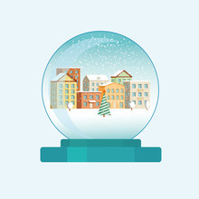 Christmas Snow Globe With A Ci...