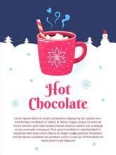 Winter Season Poster Cup Chocolate Marshmallows Snow