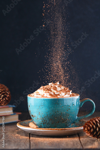 In de dag Chocolade Hot chocolate with cream and cinnamon stick in a blue ceramic cup on a table with a books. The concept of winter or fall time.