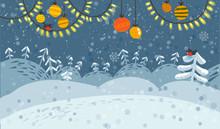 Winter Snowy Landscape Banner ...