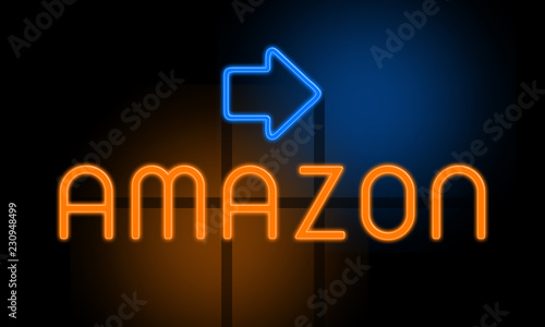 Amazon - orange glowing text with an arrow on dark background Canvas Print