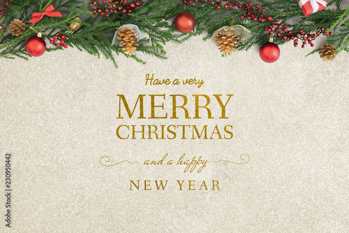 Fotografie, Obraz  Merry Christmas and Happy New Year greeting card mockup