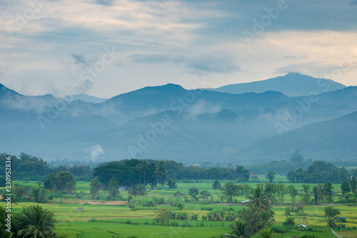 Fotobehang Landschap Landscape of Mountain with clouds in morning time.