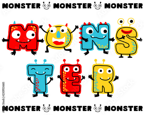 Cute monsters cartoon in letters. Vector illustration. Eps 10