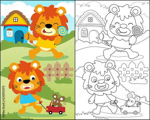 coloring book with funny lions cartoon