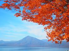 北海道 支笏湖の紅葉風景