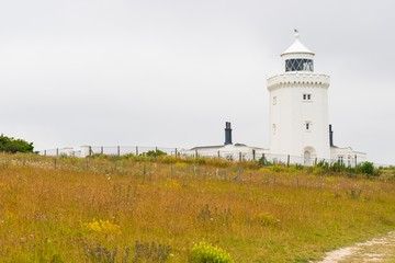South Foreland Lighthouse, Leuchtturm, Kreidefelsen, White cliffs of Dover, England, Großbritannien, Europa
