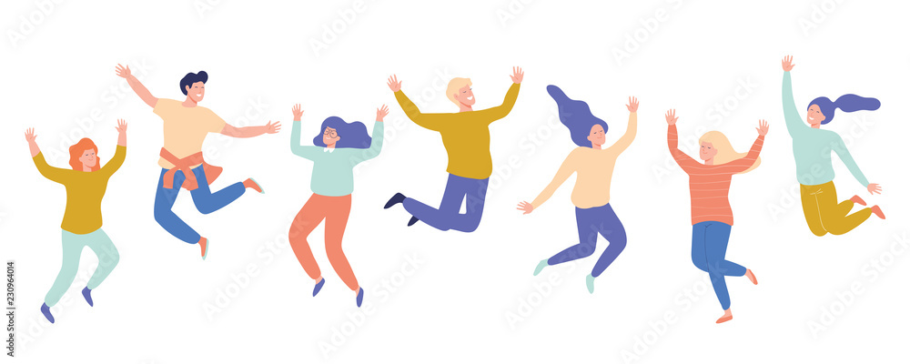 Fototapety, obrazy: Group of young happy laughing people jumping with raised hands. Students. Vector flat cartoon illustration isolated on white background.