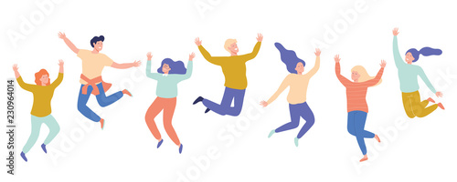 Fotografia  Group of young happy laughing people jumping with raised hands