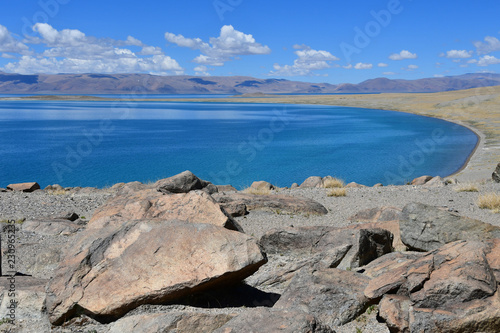 China. Great lakes of Tibet. Lake Teri Tashi Namtso in sunny summer day