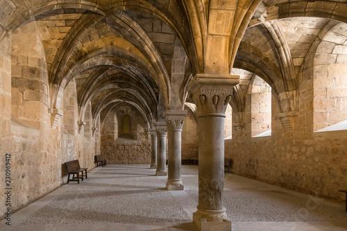 room with columns in the monastery of Santa Maria de Huerta, Soria, Spain