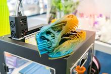 3D Printer Printing Dragon Hea...