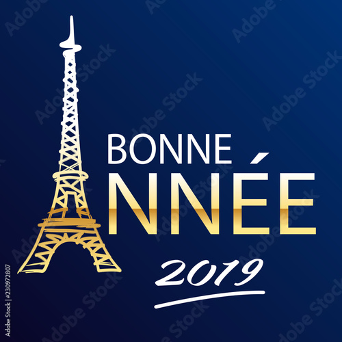 Fotografering  Carte de vœux 2019 représentant Paris et la tour Eiffel en lettres dorée sur fon