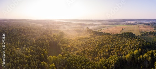 In de dag Toscane Beautiful foggy polish landscape photographed from drone