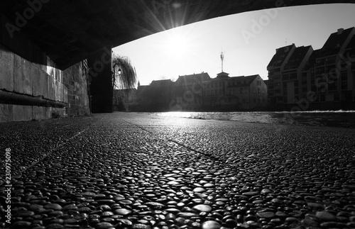 Poster Bridges under Saint-Martin Bridge at sunrise in Strasbourg - France