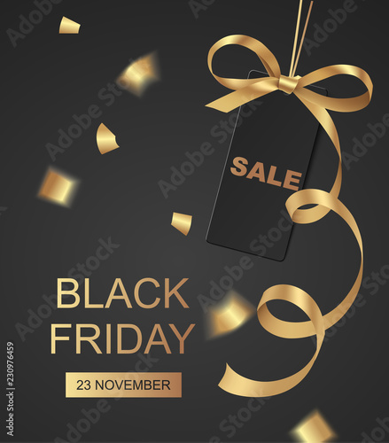 Spoed Foto op Canvas Wanddecoratie met eigen foto Black Friday Sale design template. Vector background with price tag and golden bow