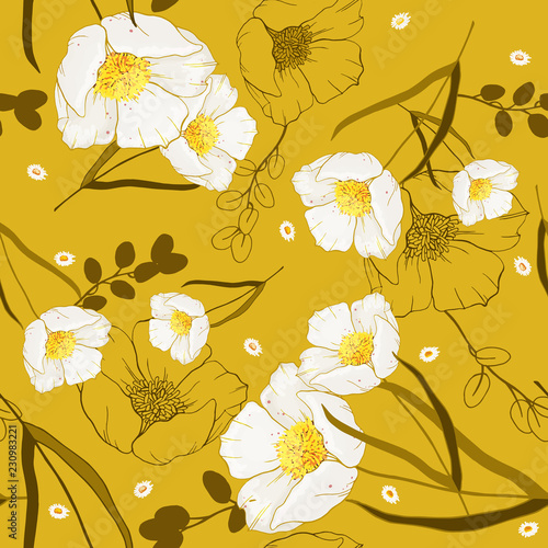 Recess Fitting Graphic Prints Vintage background. Wallpaper. Hand drawn. Vector illustration. Trendy floral pattern. Isolated seamless pattern.