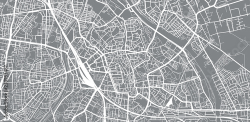 Urban vector city map of Augsburg, Germany Canvas Print