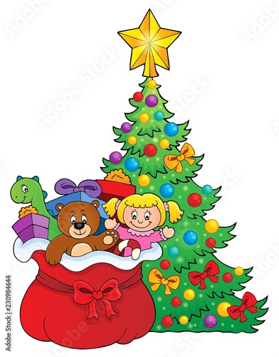 Tuinposter Voor kinderen Christmas tree and bag with gifts 1