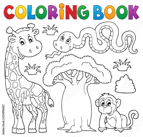 Tuinposter Voor kinderen Coloring book African nature theme set 1