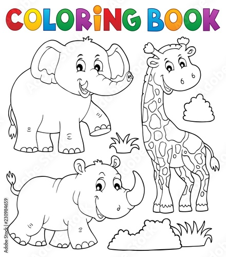 Tuinposter Voor kinderen Coloring book African nature theme set 2