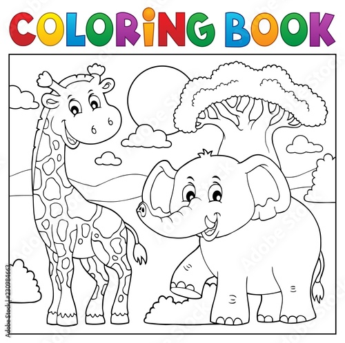 Tuinposter Voor kinderen Coloring book African nature topic 1
