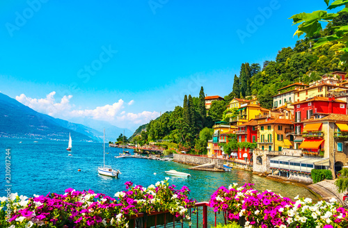 Printed kitchen splashbacks Blue Varenna town, Como Lake district landscape. Italy, Europe.