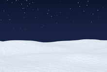 Snow Field With Smooth Surface Under Night Sky