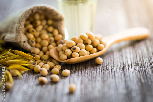 Healthy soy on a wooden spoon,copy space.