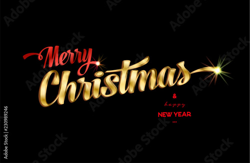 Merry Christmas Logo 2020 Merry christmas happy new year typography logo vector symbol