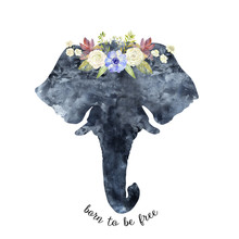 Watercolor Elephant Head Silhouette Decorated With Flowers