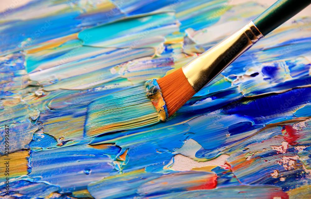 Fototapeta Closeup background of brush and palette.